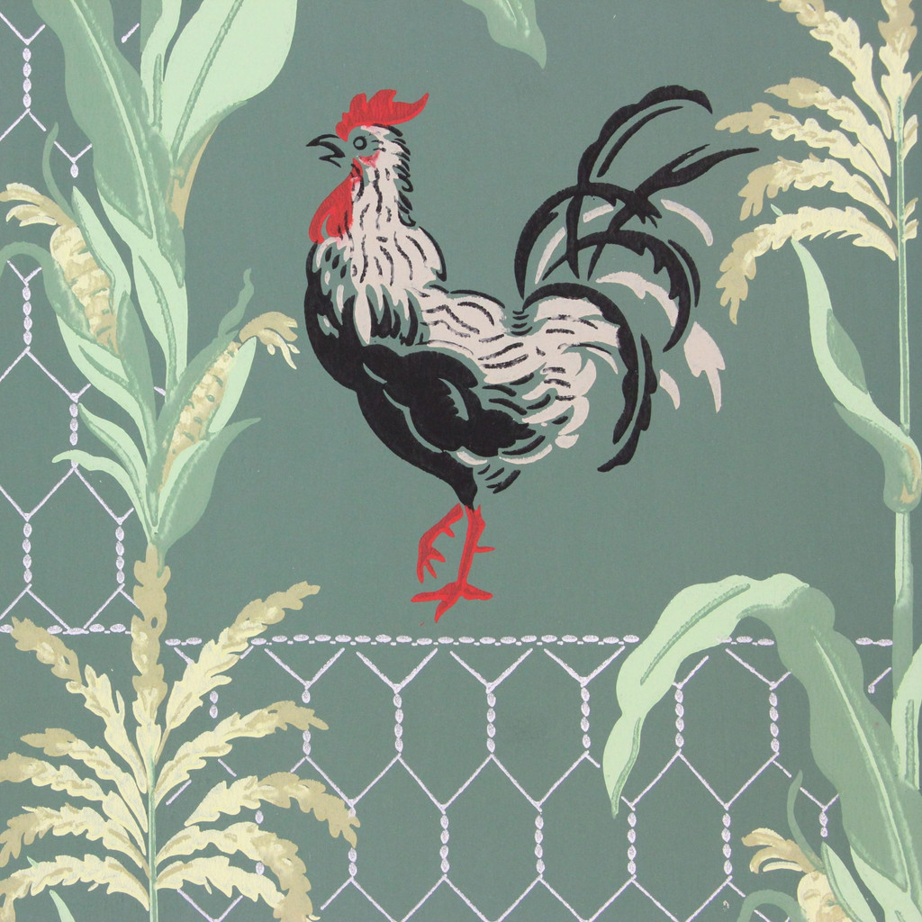 1940s Vintage Wallpaper Roosters Chicken Wire on Green