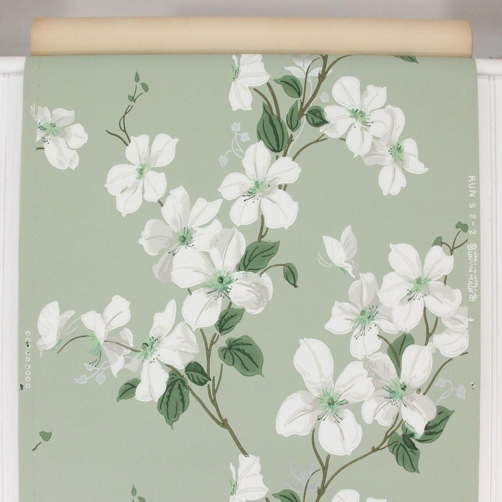 1940s Vintage Wallpaper White Dogwood on Green