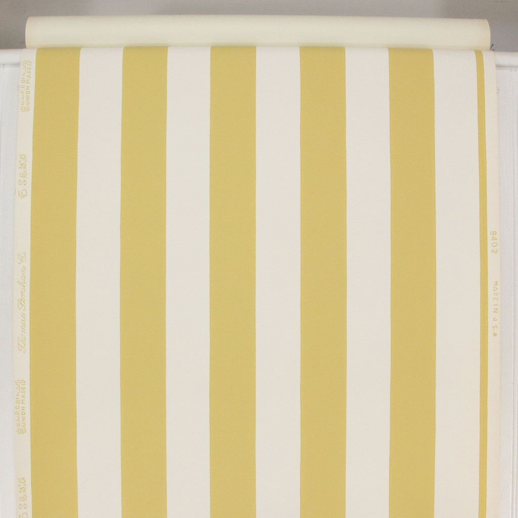 1950s Vintage Wallpaper Thomas Strahan Yellow White Stripe