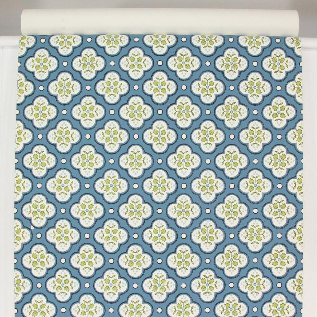 1950s Vintage Wallpaper Thomas Strahan Green Blue Geometric