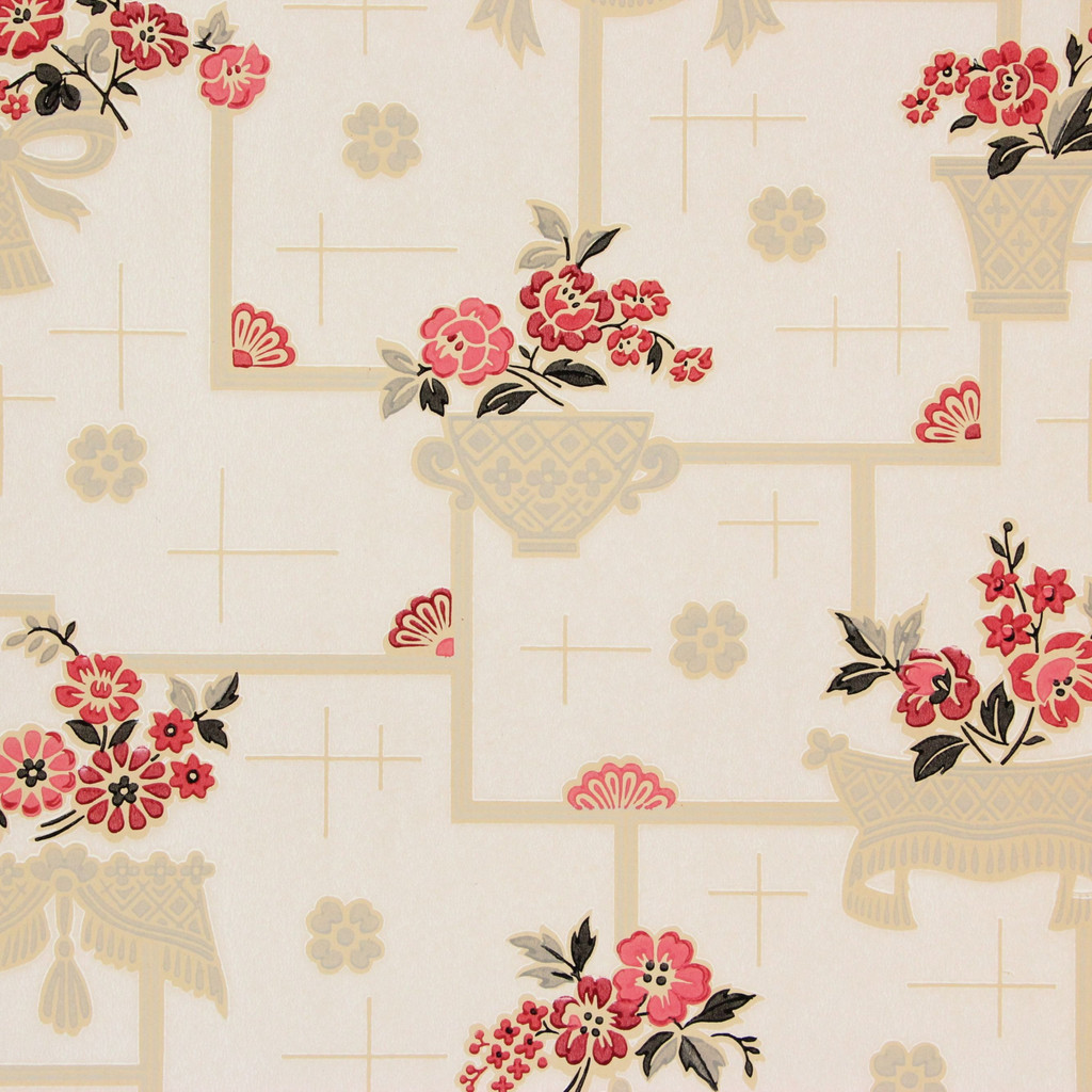 1930s Vintage Wallpaper Red Black Flowers on White Tiles