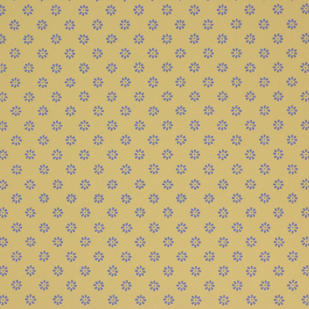 1950s Vintage Wallpaper Thomas Strahan Blue Floral Geometric on Yellow Gold