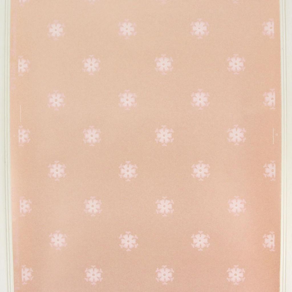 1950s Vintage Wallpaper Thomas Strahan White Floral Geometric on Pink