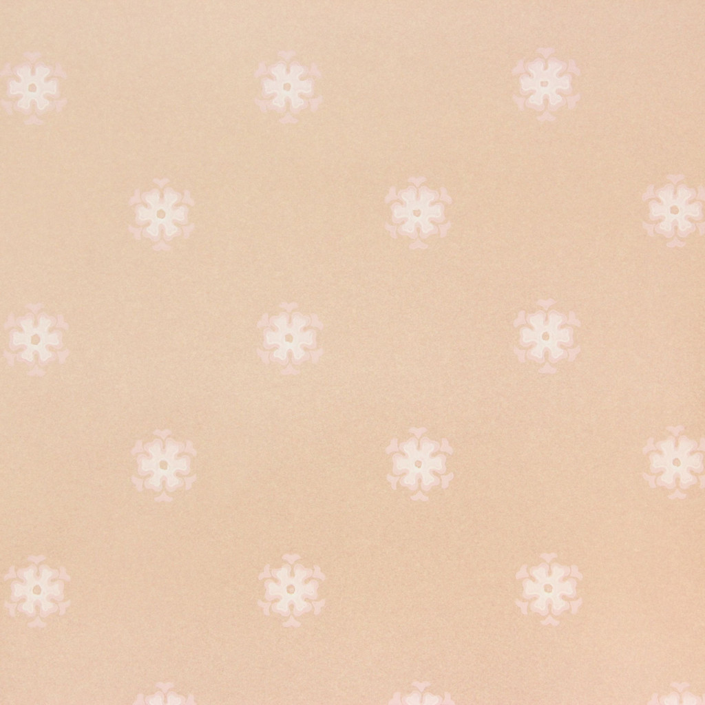 1950s Vintage Wallpaper Thomas Strahan White Floral Geometric on Pink