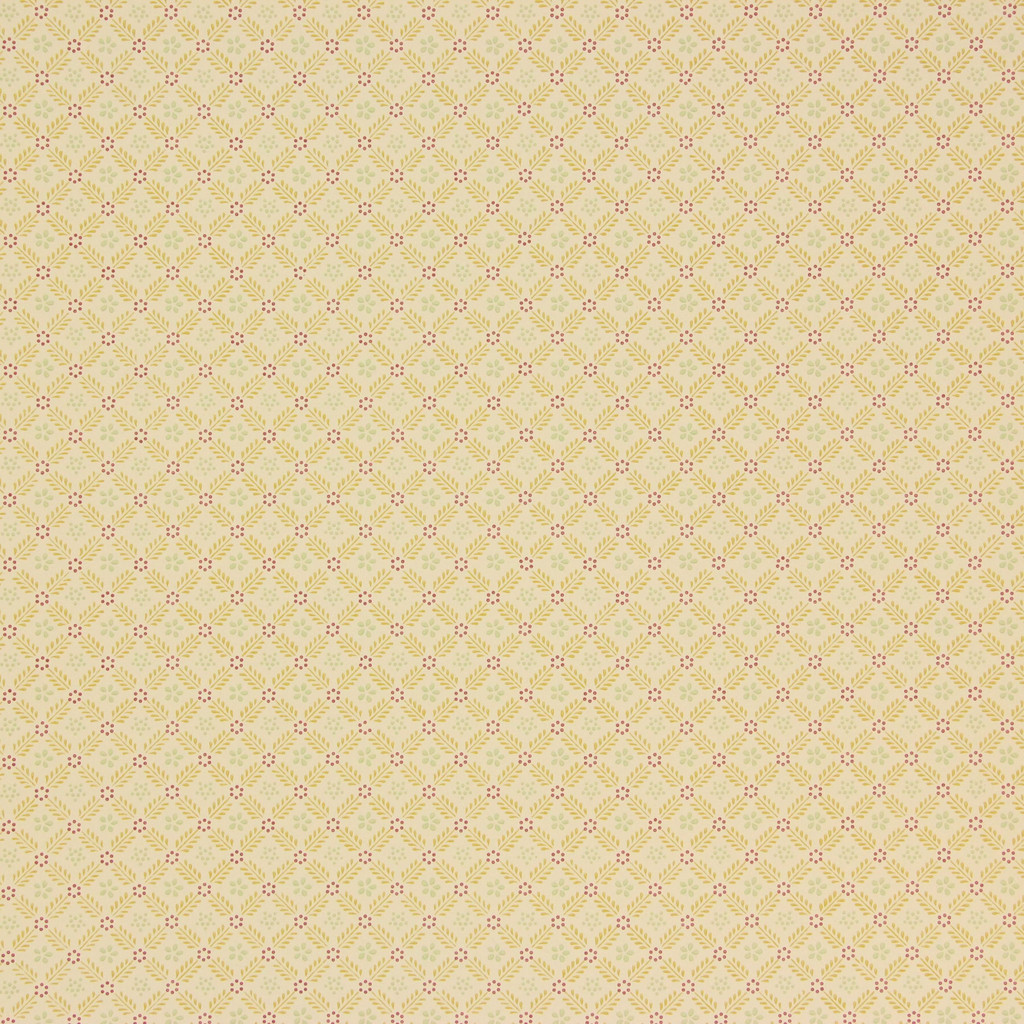 1950s Vintage Wallpaper Thomas Strahan Red Gold Geometric on Yellow