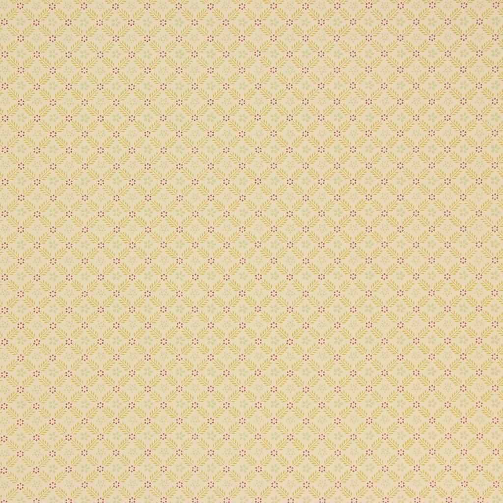 1950s Vintage Wallpaper Thomas Strahan Red Gold Geometric on Yellow