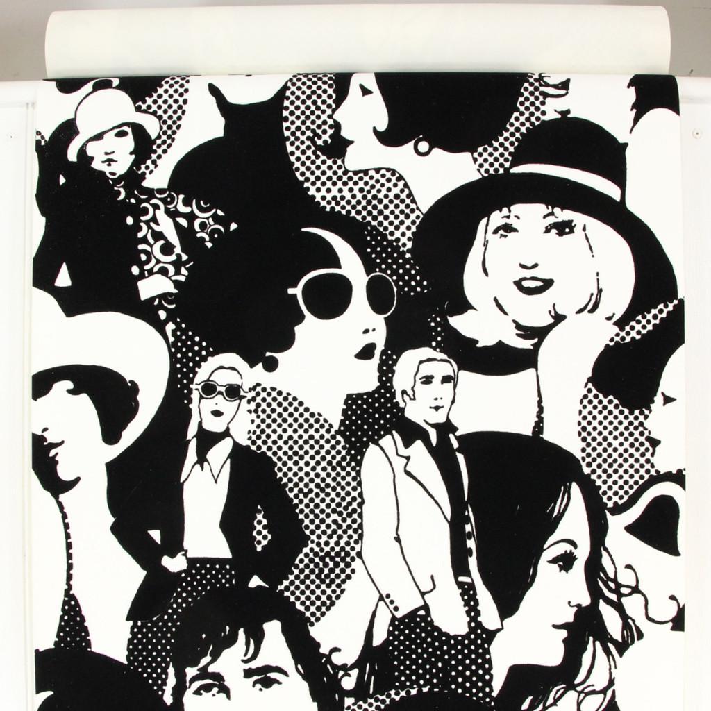 1970s Vintage Wallpaper Retro 70s Peace Love Black Flock on White