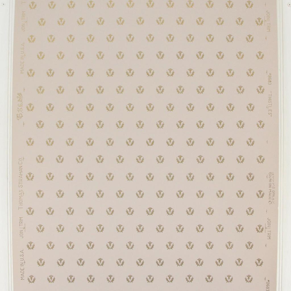 1950s Vintage Wallpaper Thomas Strahan Thistles Gold on Lilac