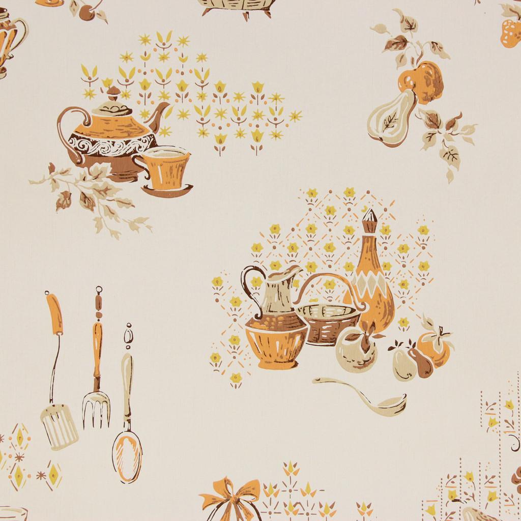 1960s Vintage Wallpaper Orange Brown Kitchen