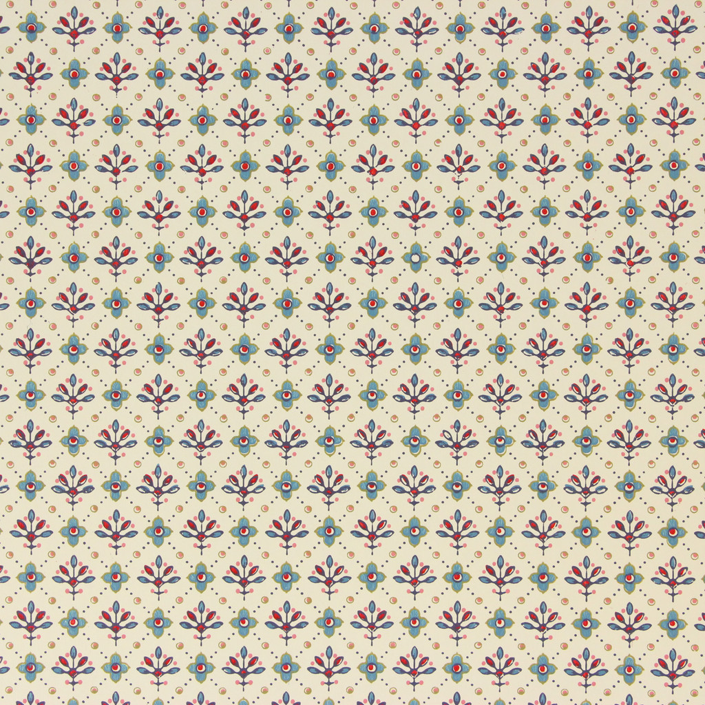 1970s Vintage Wallpaper Thomas Strahan Red Blue Geometric