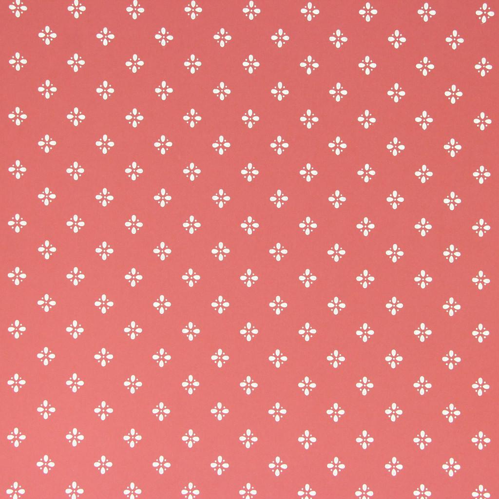 1950s Vintage Wallpaper Thomas Strahan White Geometric on Red