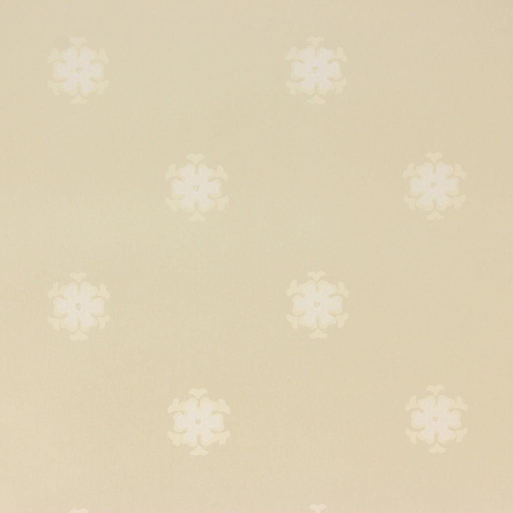 1950s Vintage Wallpaper Thomas Strahan White Floral Geometric on Beige