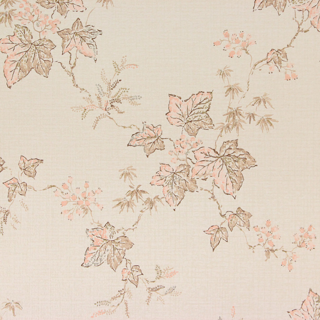 1960s Vintage Wallpaper Pink Brown Leaves