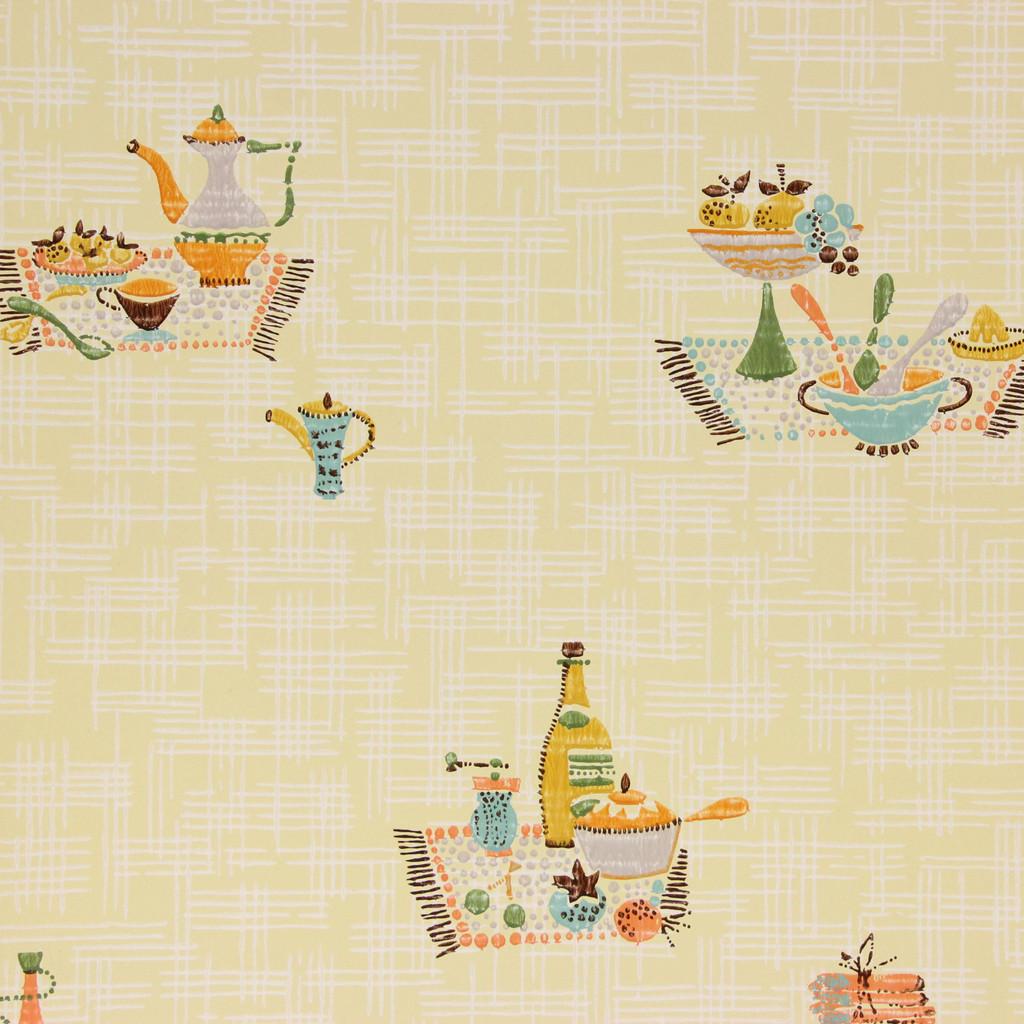 1960s Vintage Wallpaper Picnic on Yellow