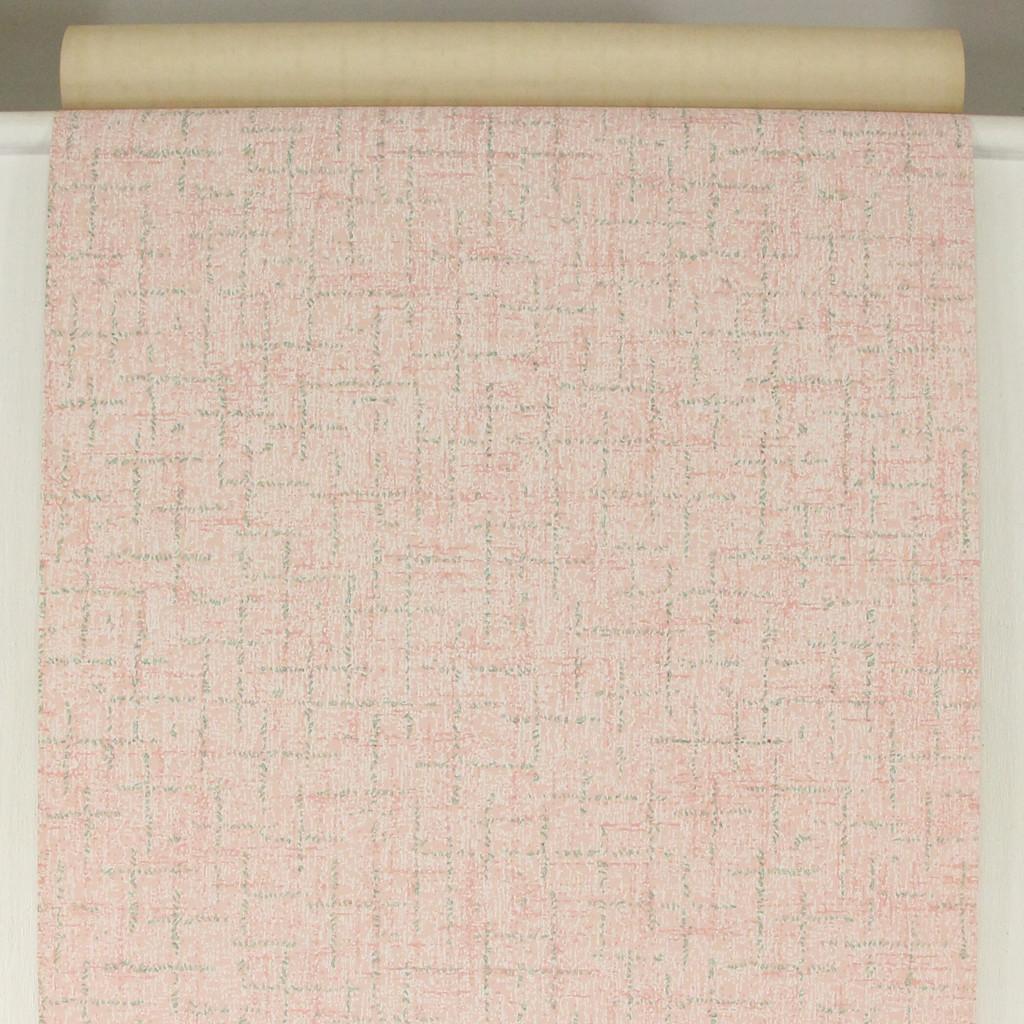 1940s Vintage Wallpaper Green Crosshatch on Pink