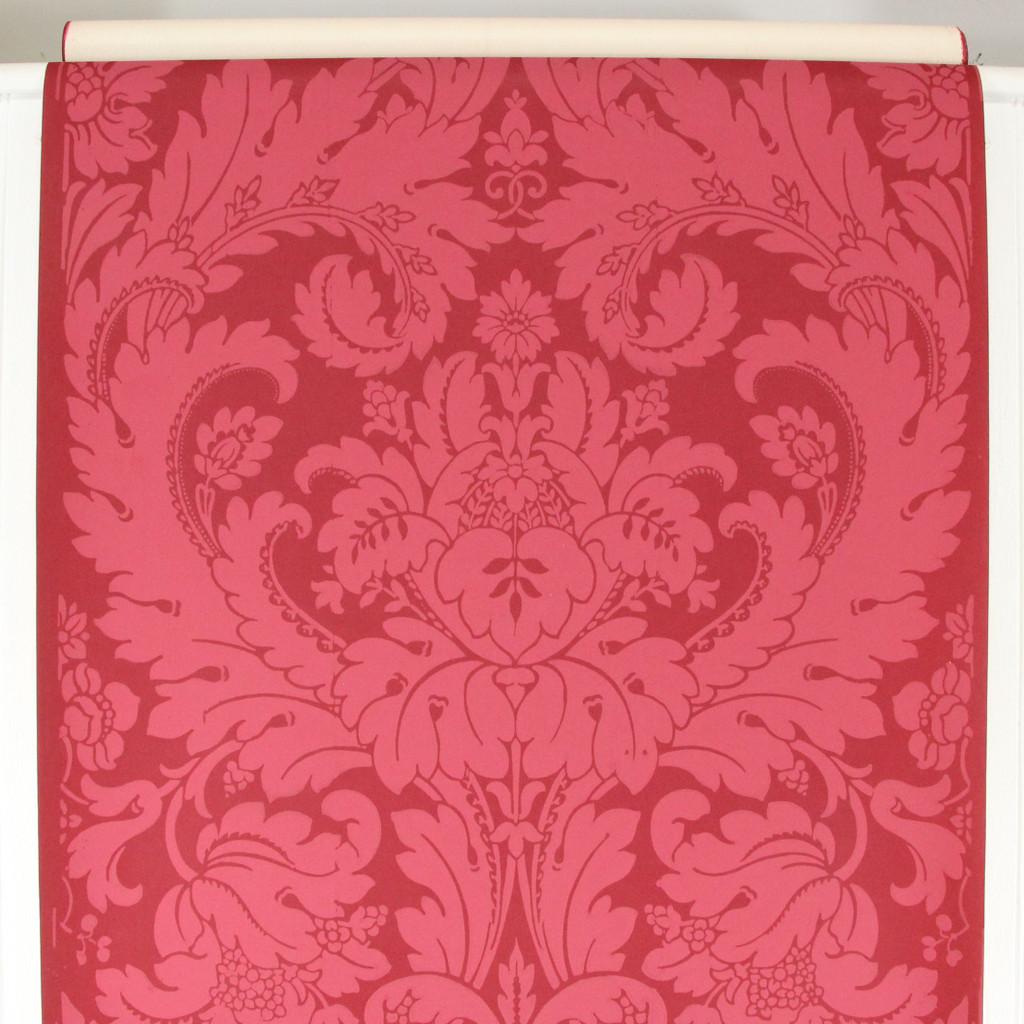 1960s Vintage Wallpaper Large Red Damask