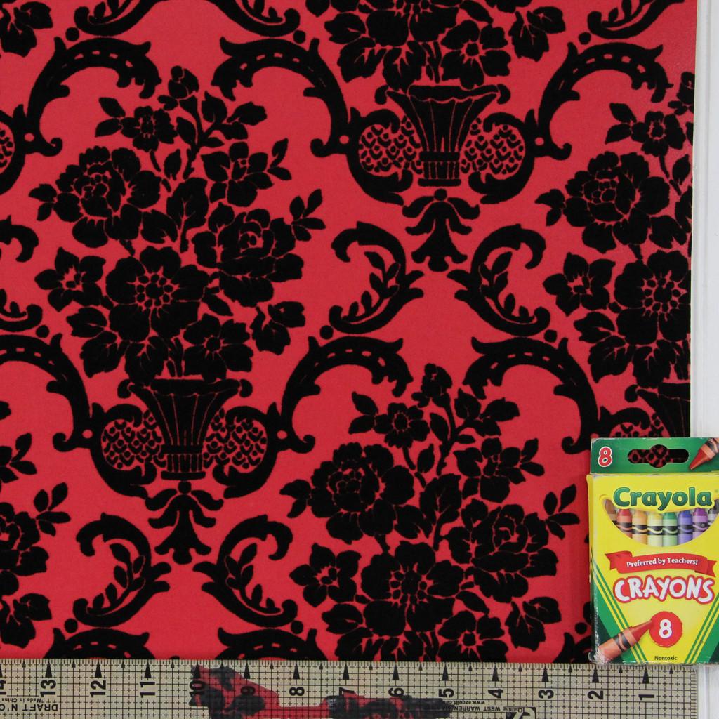 1970s Vintage Wallpaper Retro Black Flock on Red