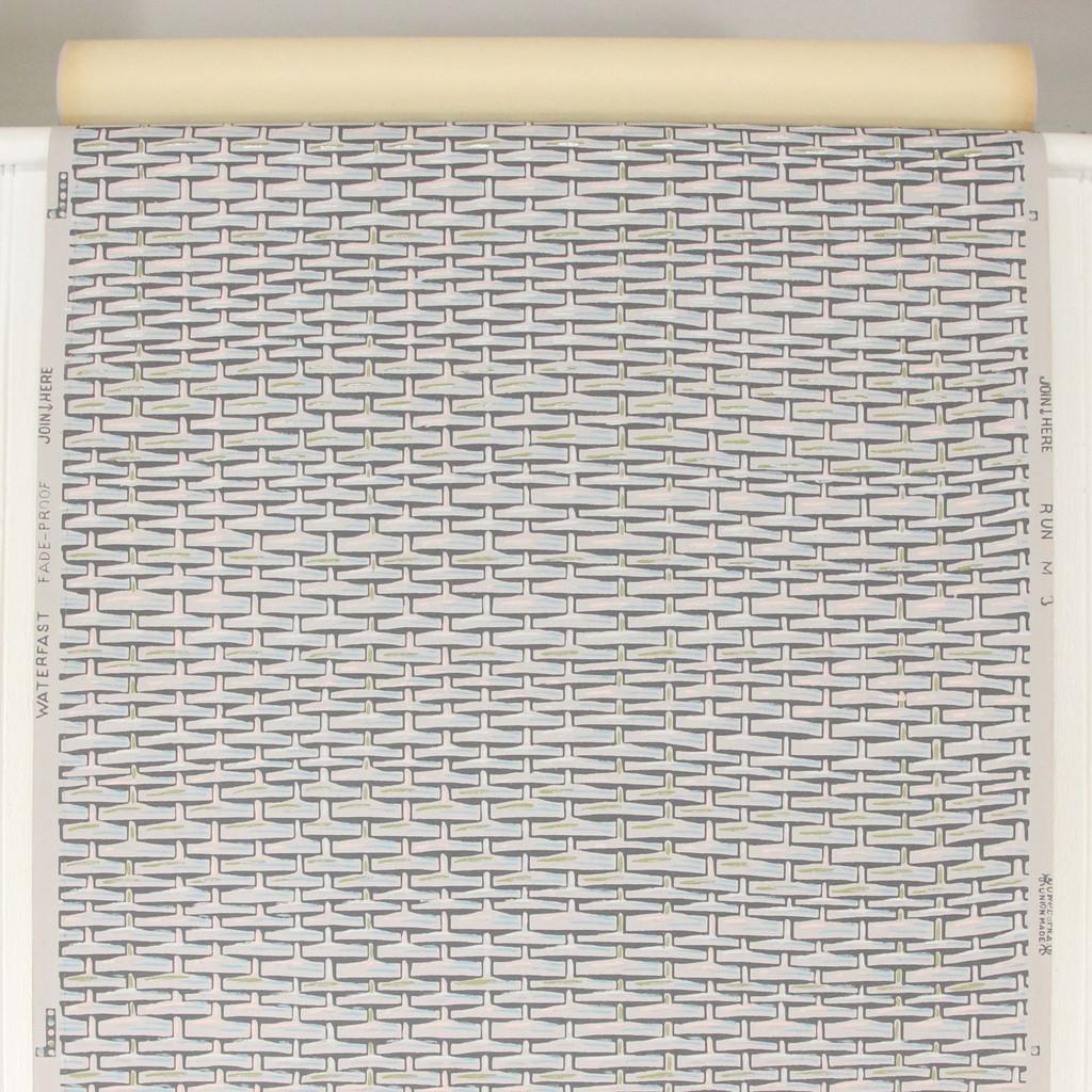 1950s Vintage Wallpaper Blue Gray Basket Weave
