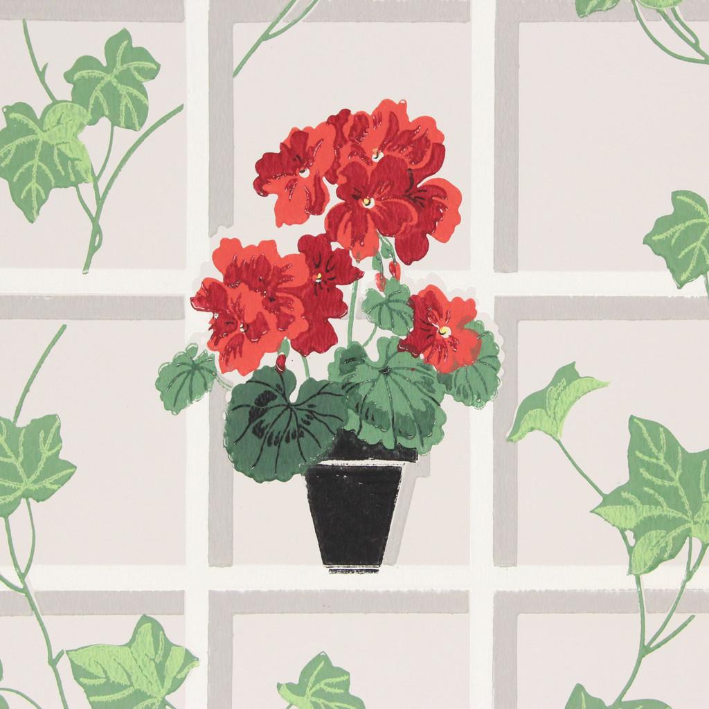 1940s Vintage Wallpaper Red Geraniums on Lattice