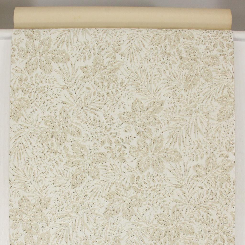 1960s Vintage Wallpaper Beige Leaves on White