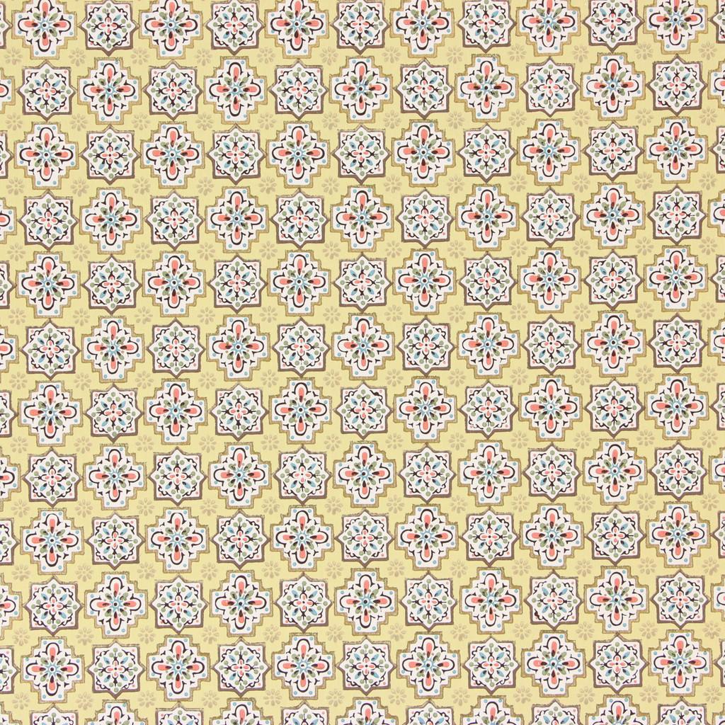 1950s Vintage Wallpaper Pink White Geometric on Yellow