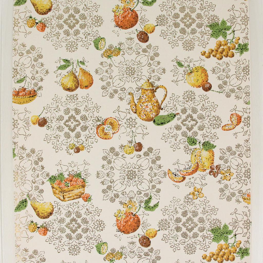 1960s Vintage Wallpaper Orange Yellow Kitchen