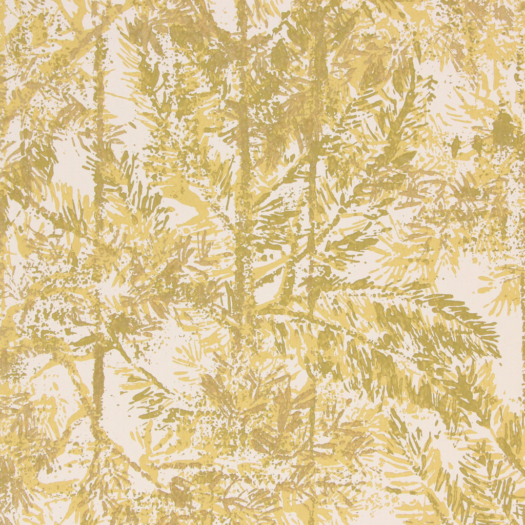 1970s Vintage Wallpaper Yellow Green Pine Trees