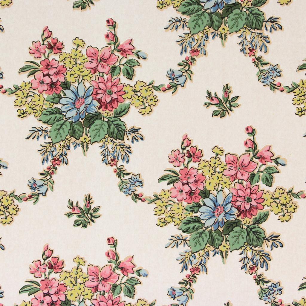 1930s Vintage Wallpaper Pink Blue Flowers