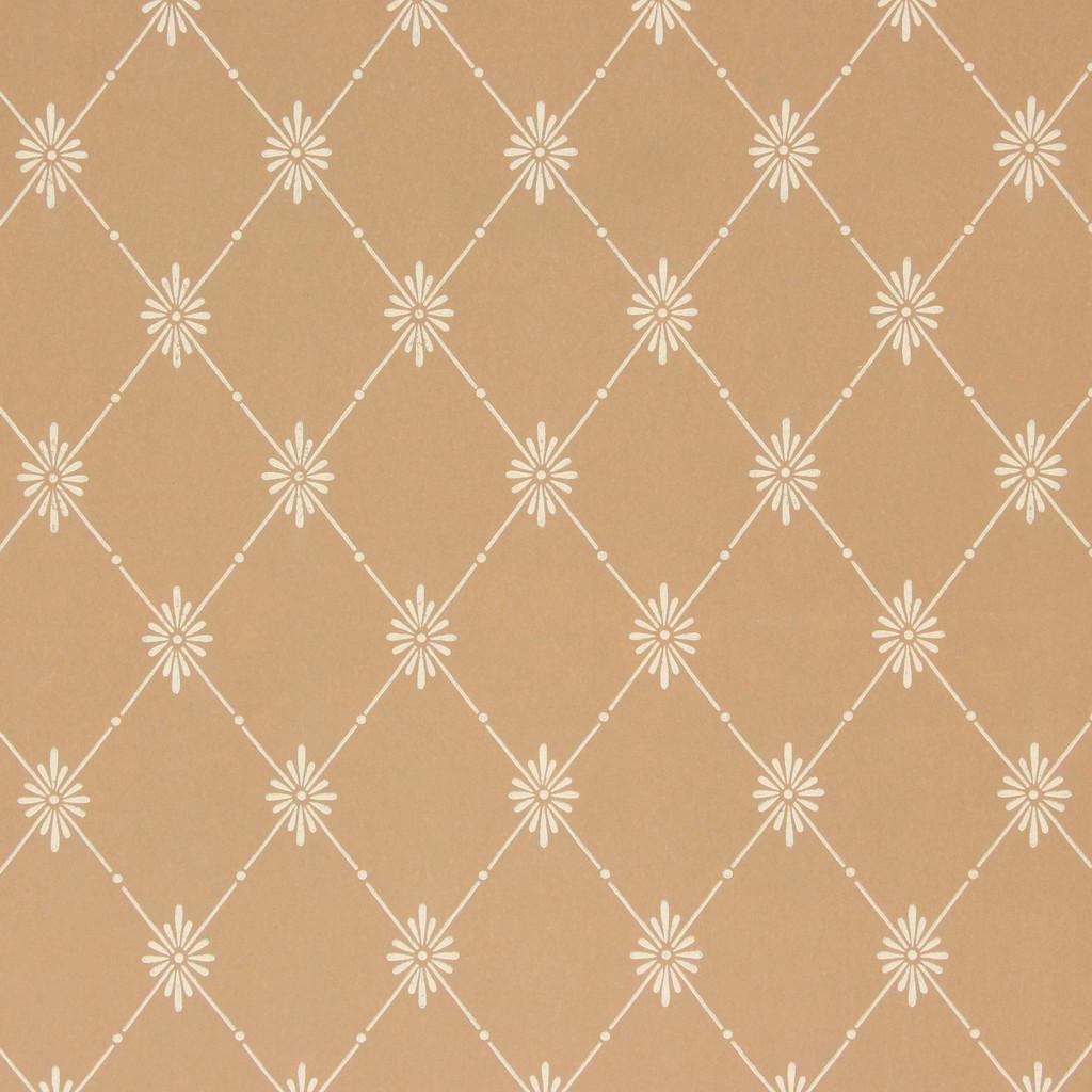 1940s Vintage Wallpaper White Floral Geometric on Brown