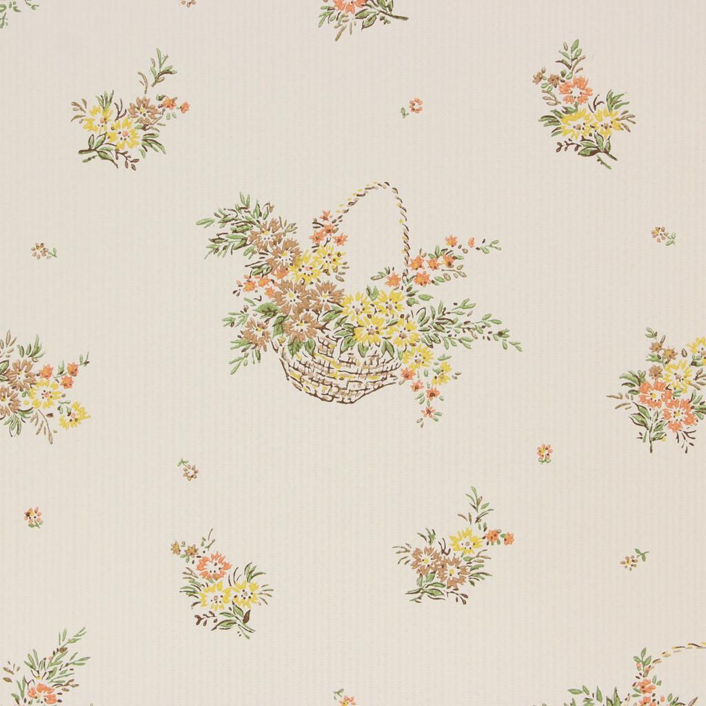 1960s Vintage Wallpaper Yellow Brown Flower Baskets