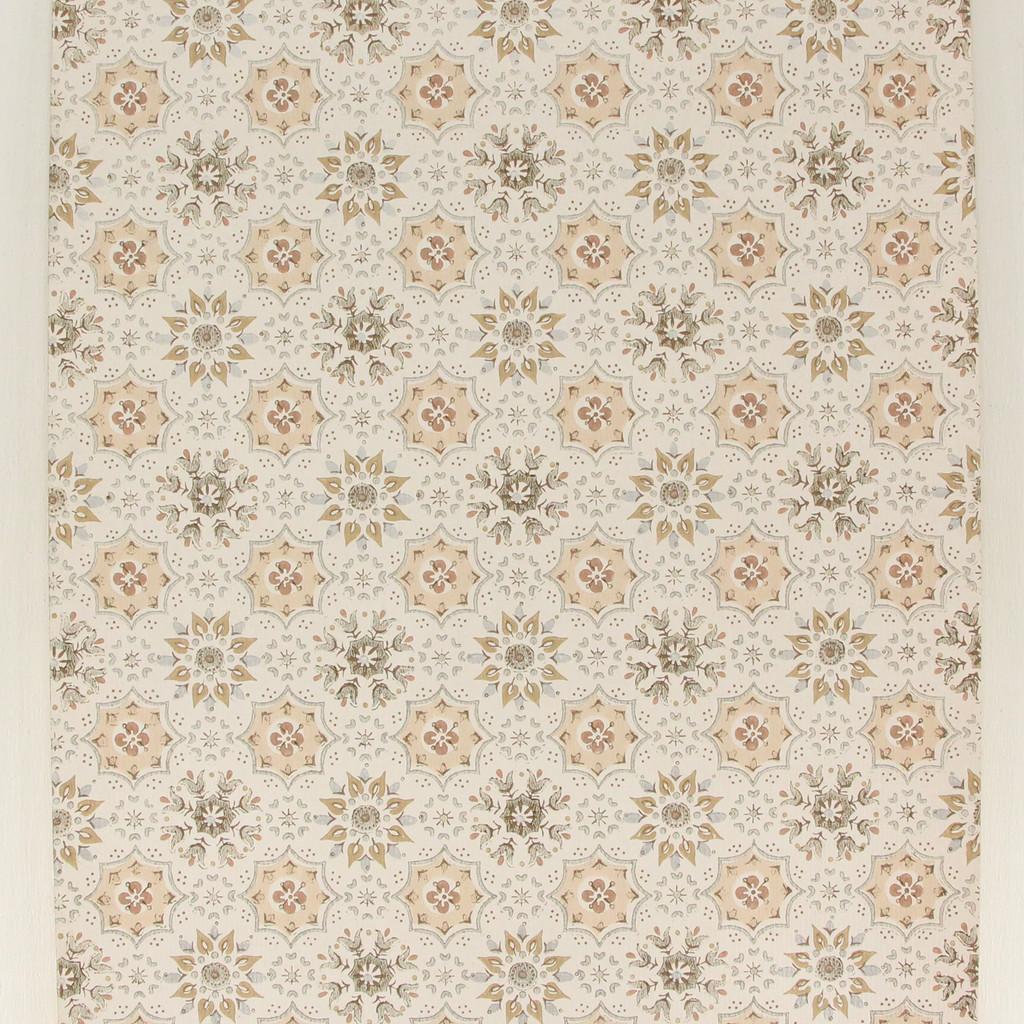 1960s Vintage Wallpaper Brown Beige Silver Geometric