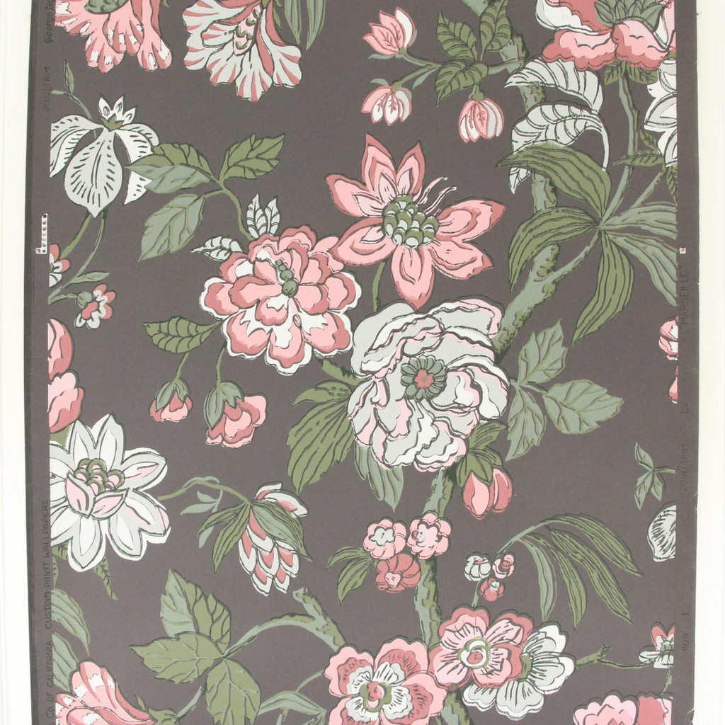 1950s Vintage Wallpaper Pink Gray Flowers on Charcoal