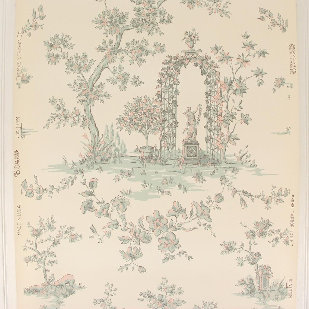 1950s Vintage Wallpaper Thomas Strahan Arbor Toile