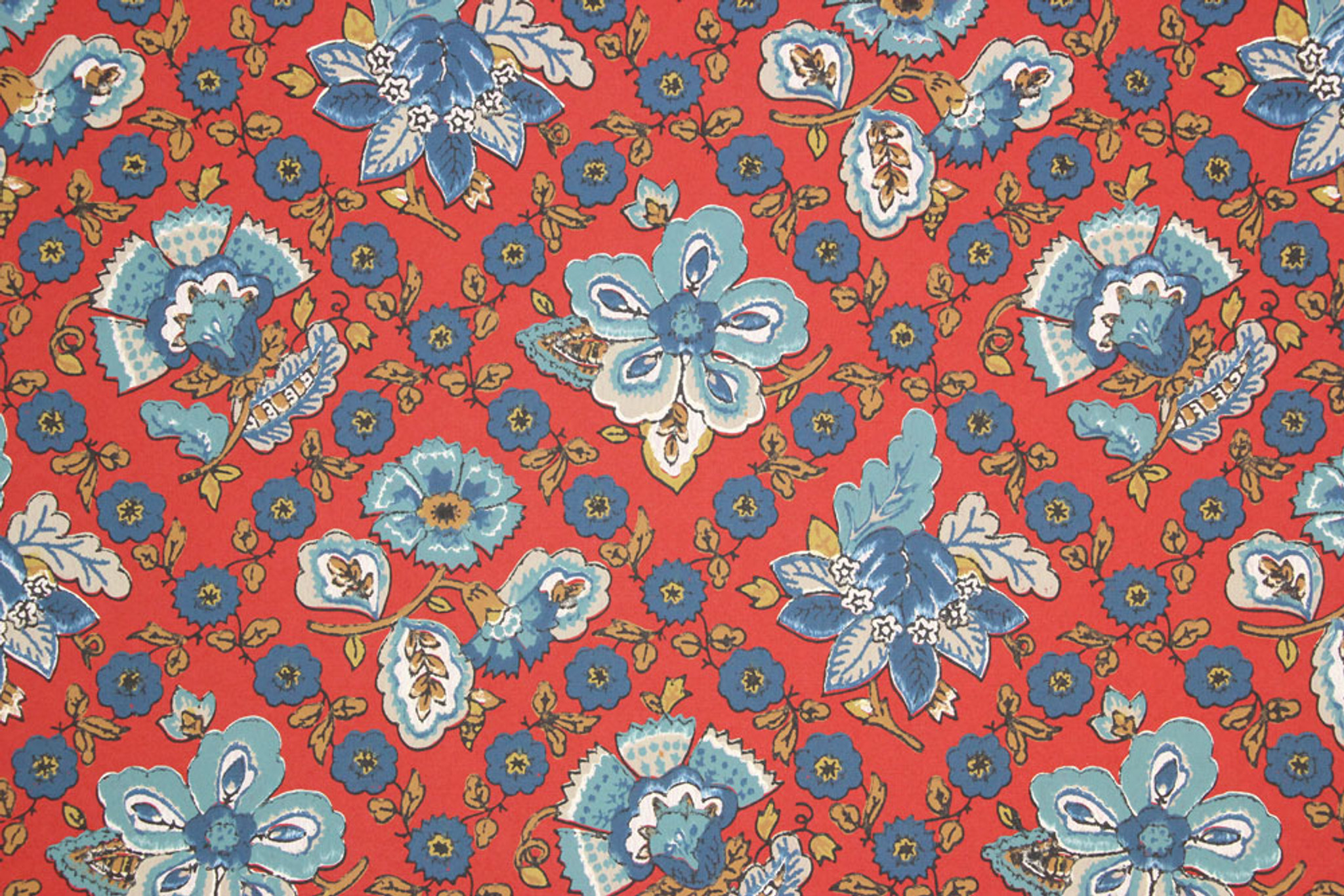 1960s Vintage Wallpaper Blue Floral Geometric On Red Rosie S