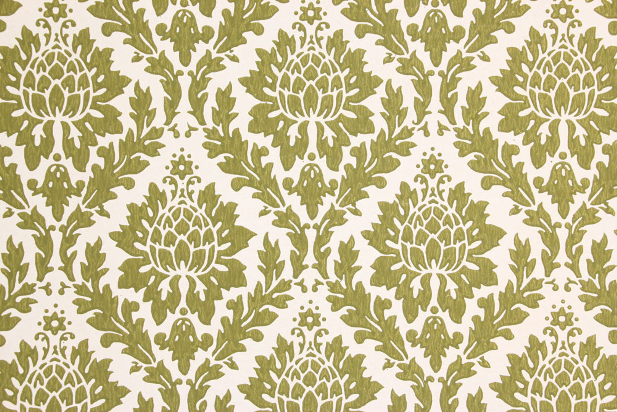 1960s Vintage Wallpaper Green Damask Design Rosie S Vintage