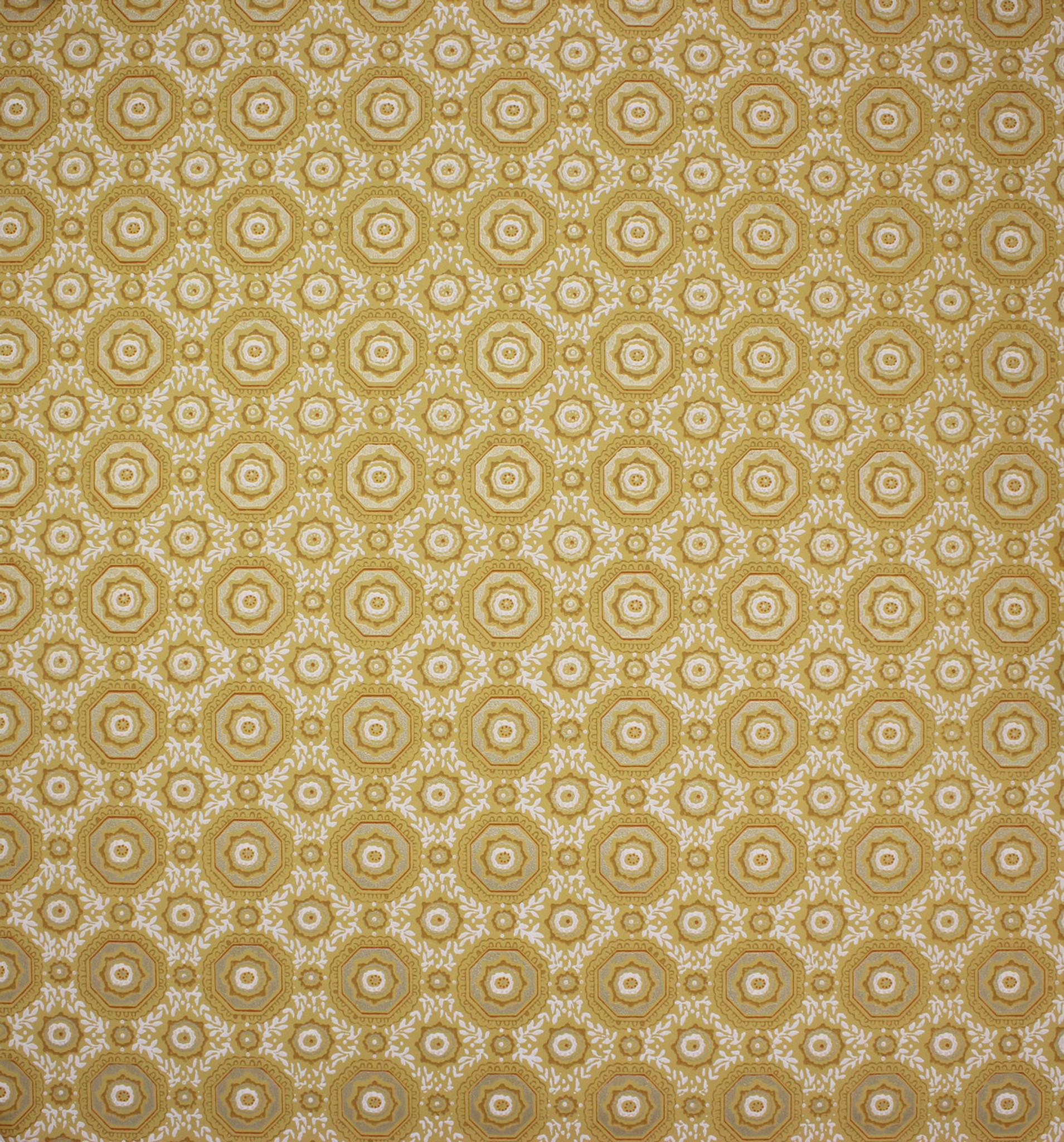 1950s Vintage Wallpaper Gold And White Geometric