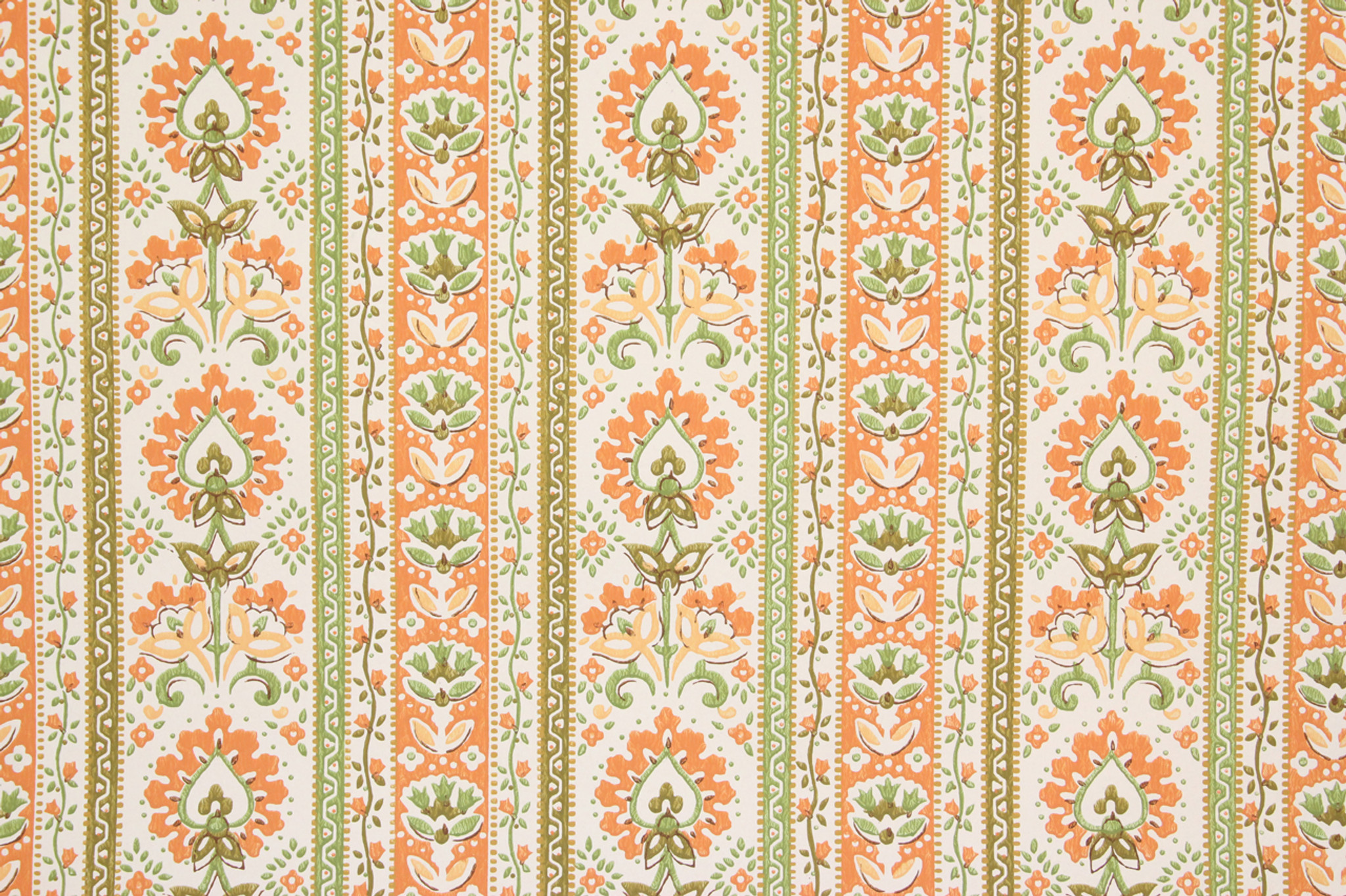 1970s Vintage Wallpaper Orange Floral Stripe Rosie S Vintage