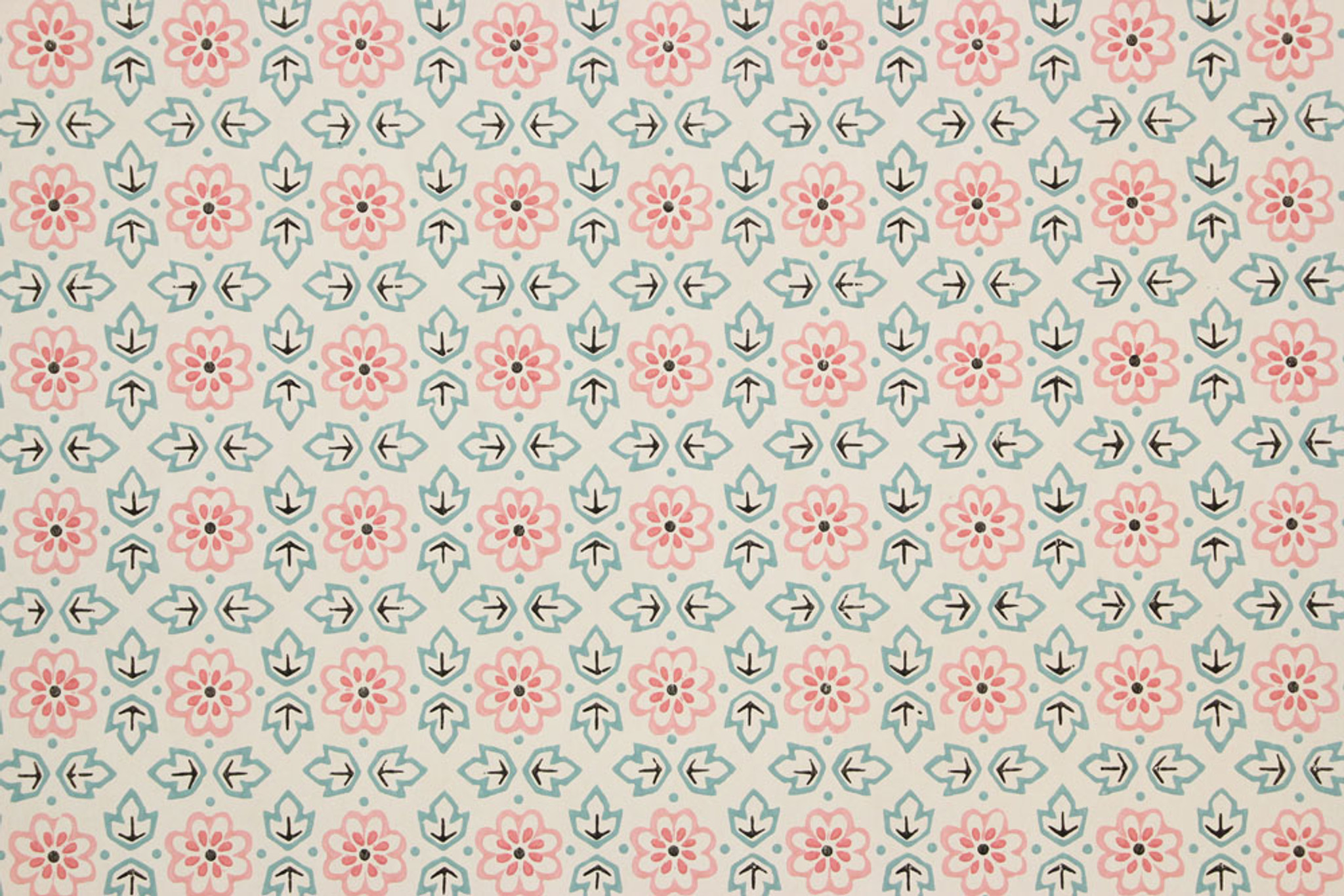 1940s Vintage Wallpaper Pink Floral And Green Geometric Rosie S