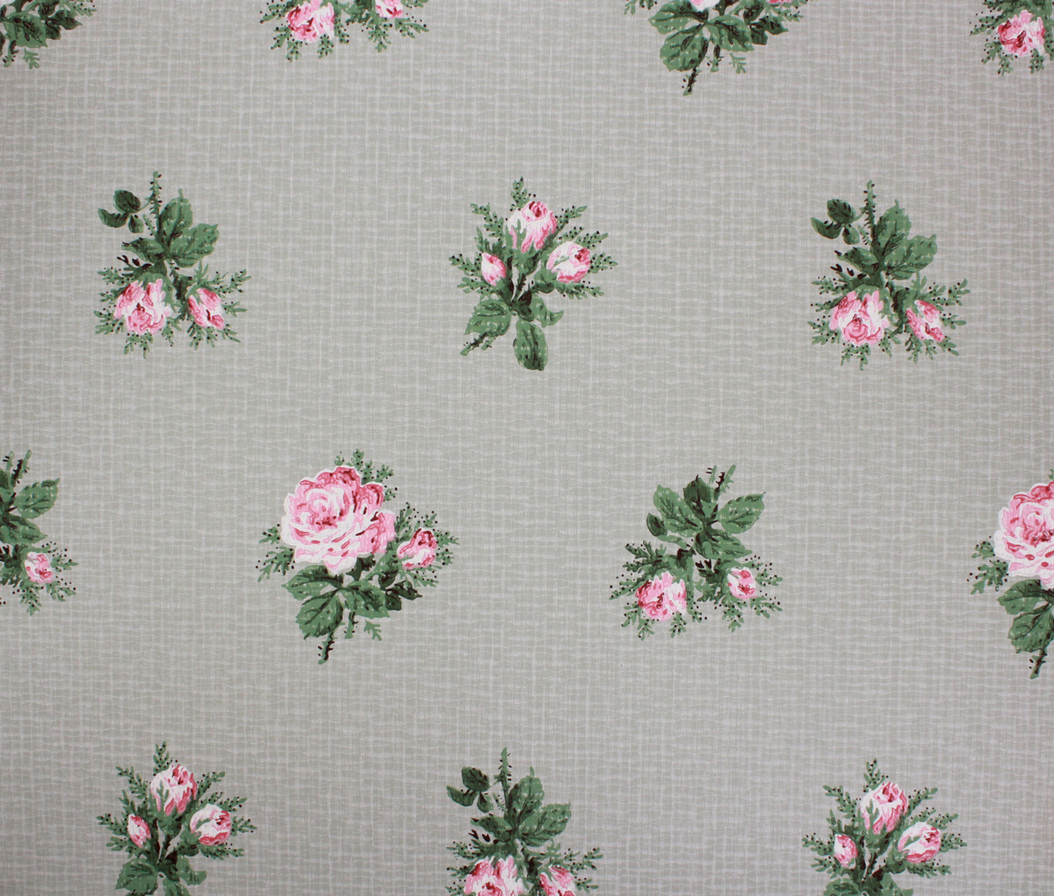 1950s Vintage Wallpaper Pink Roses On Green Nancy Warren Rosie S