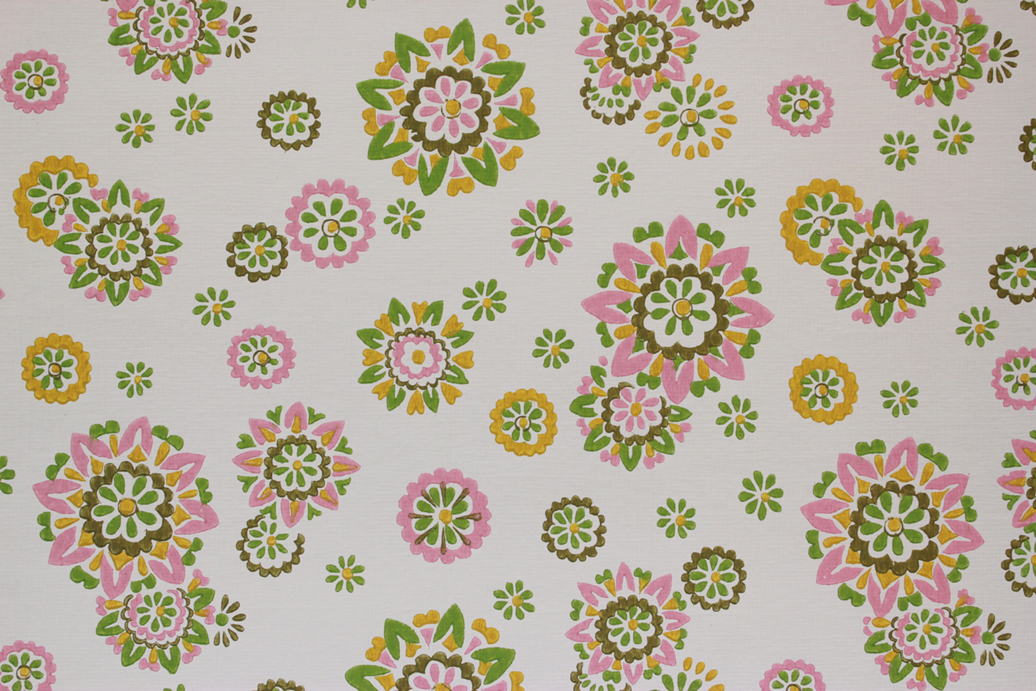 1970s Vintage Wallpaper Pink Yellow And Green Floral Rosie S