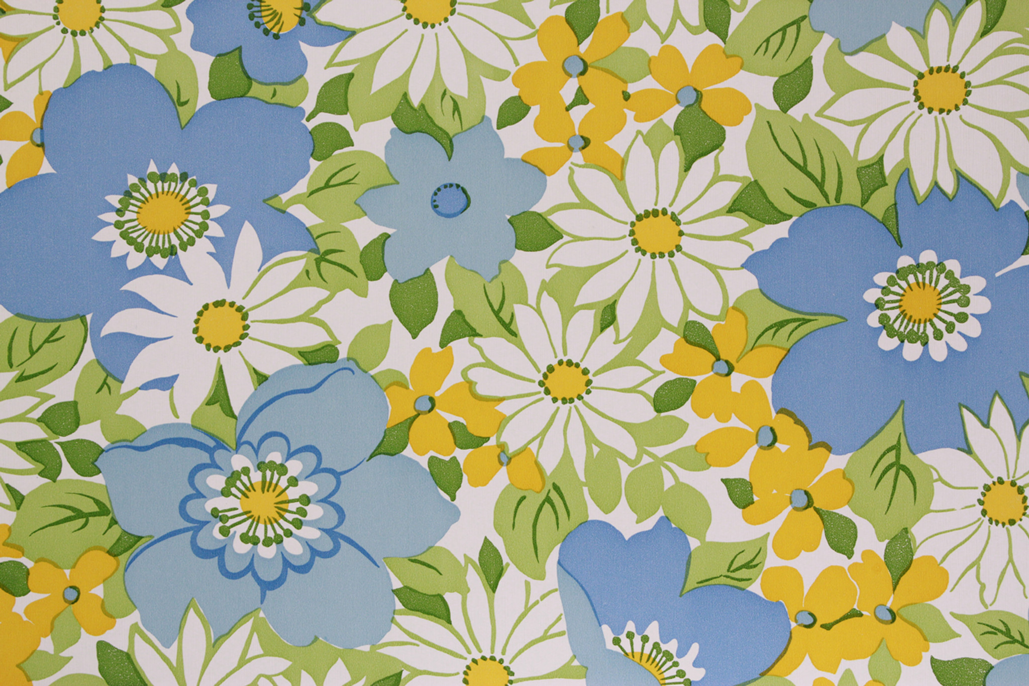 1970s Vintage Wallpaper Retro Flowers Blue And White Rosie S