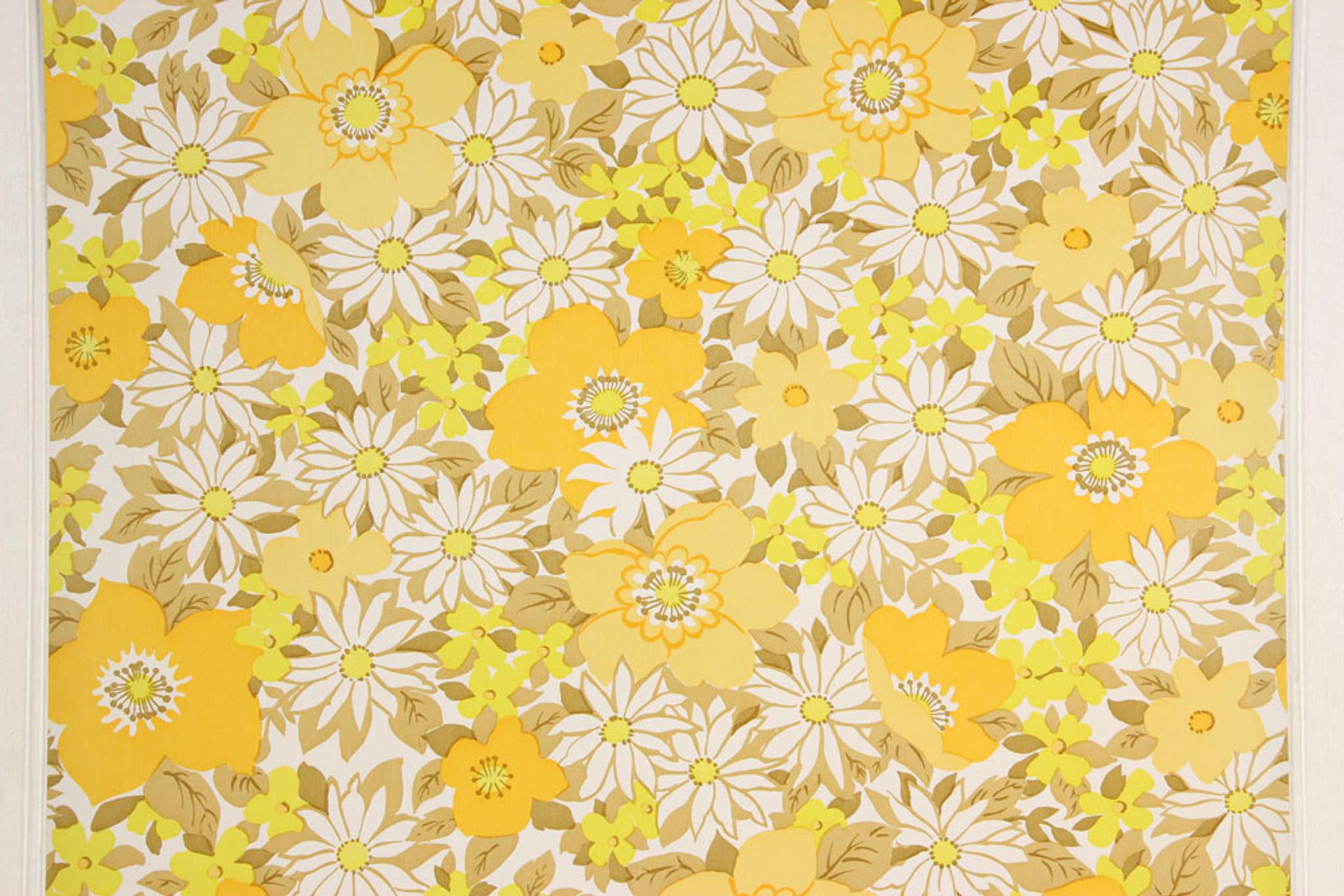 1970s Vintage Wallpaper Retro Yellow And White Flowers Rosie S Vintage Wallpaper