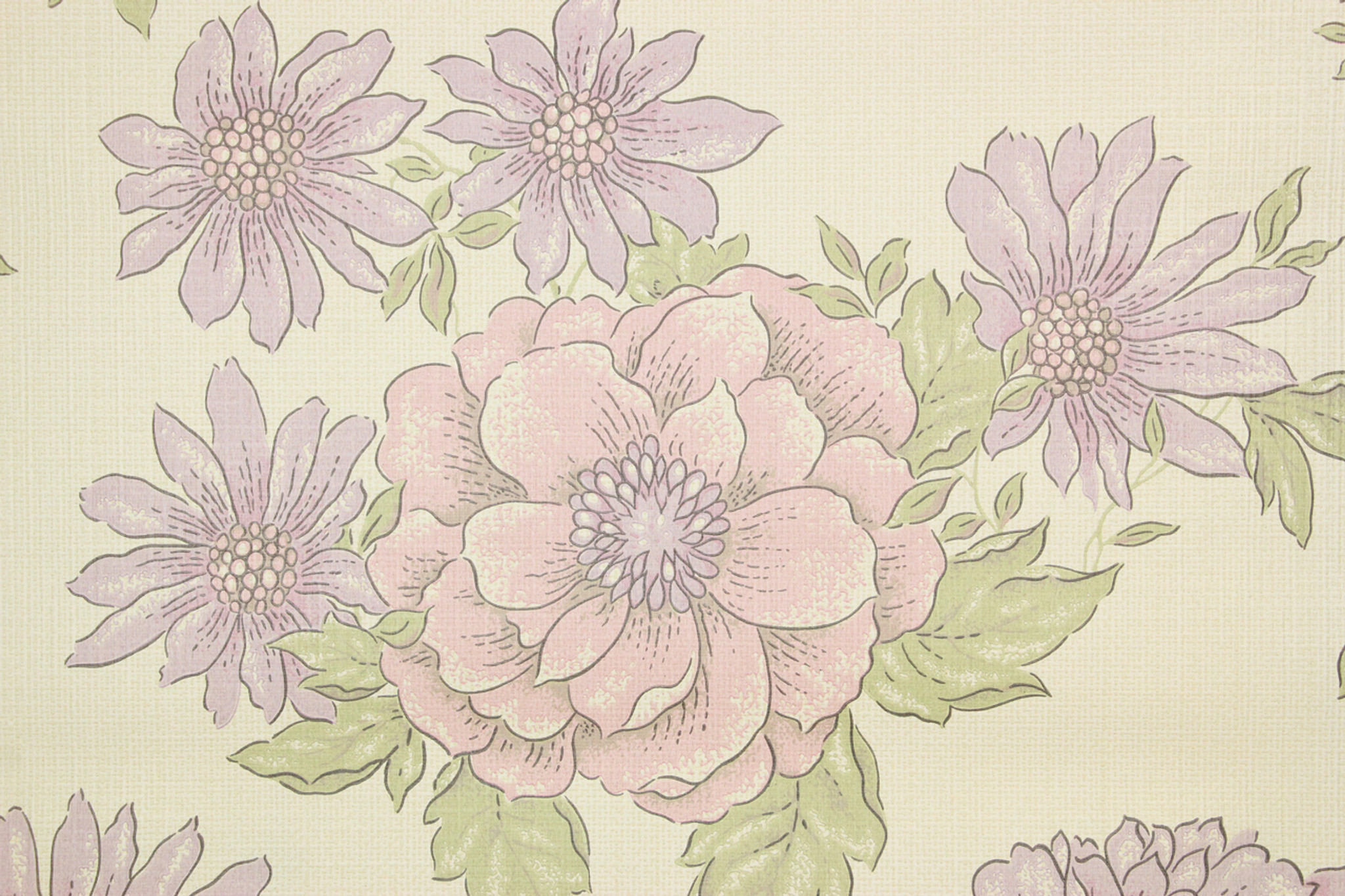 1970s Vintage Wallpaper Retro Purple Flowers Rosie S Vintage
