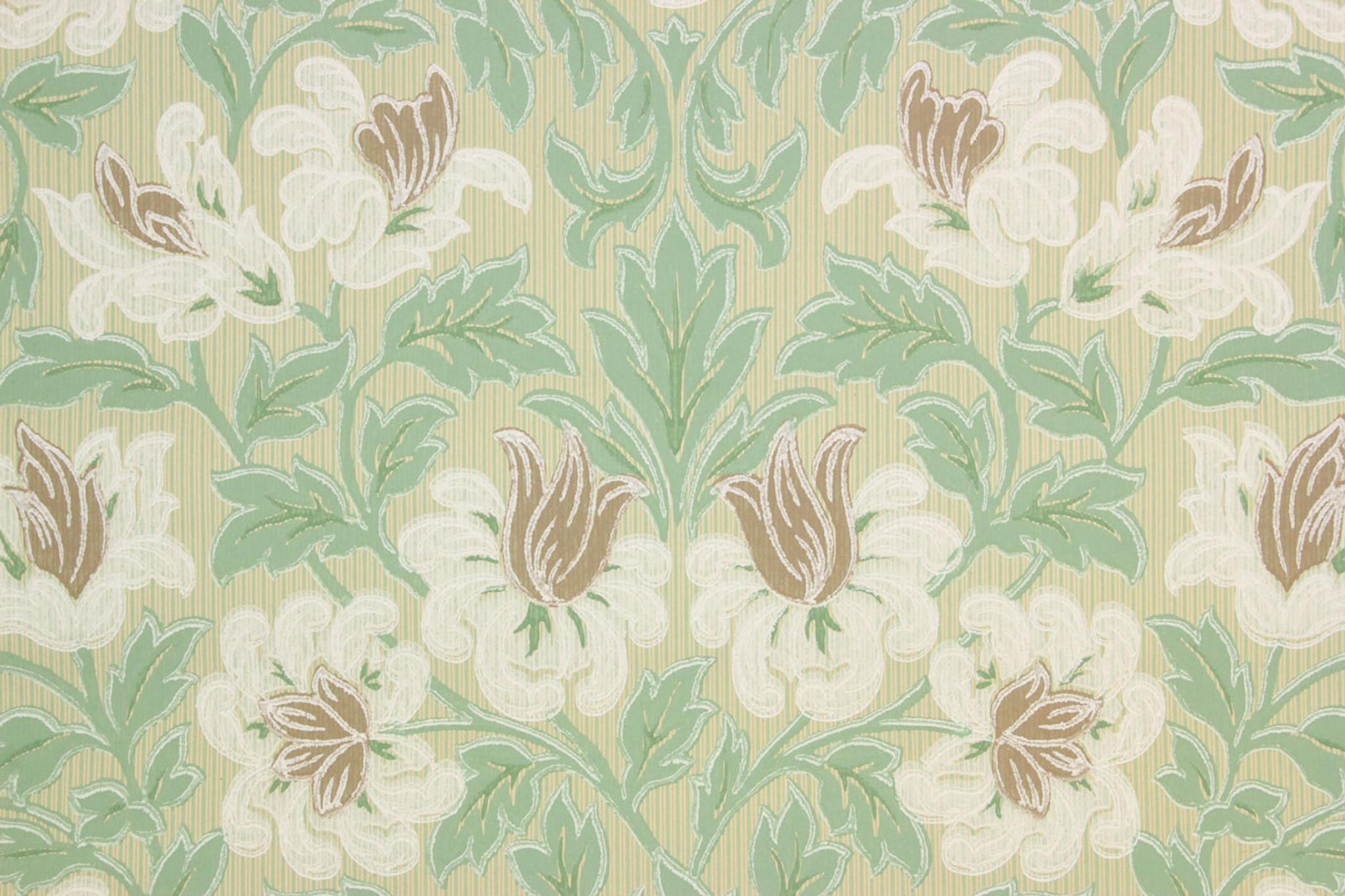 1930s Vintage Wallpaper White And Brown Flowers Rosie S Vintage