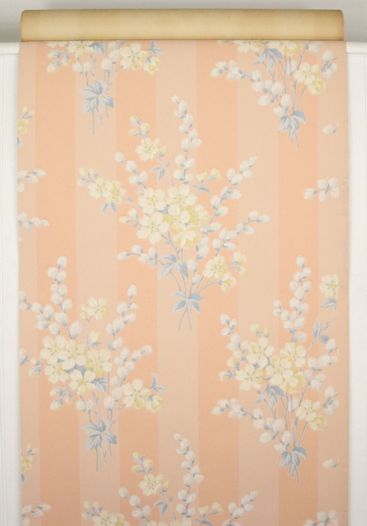 1940s Vintage Wallpaper Bouquets On Peach Stripe Rosie S Vintage