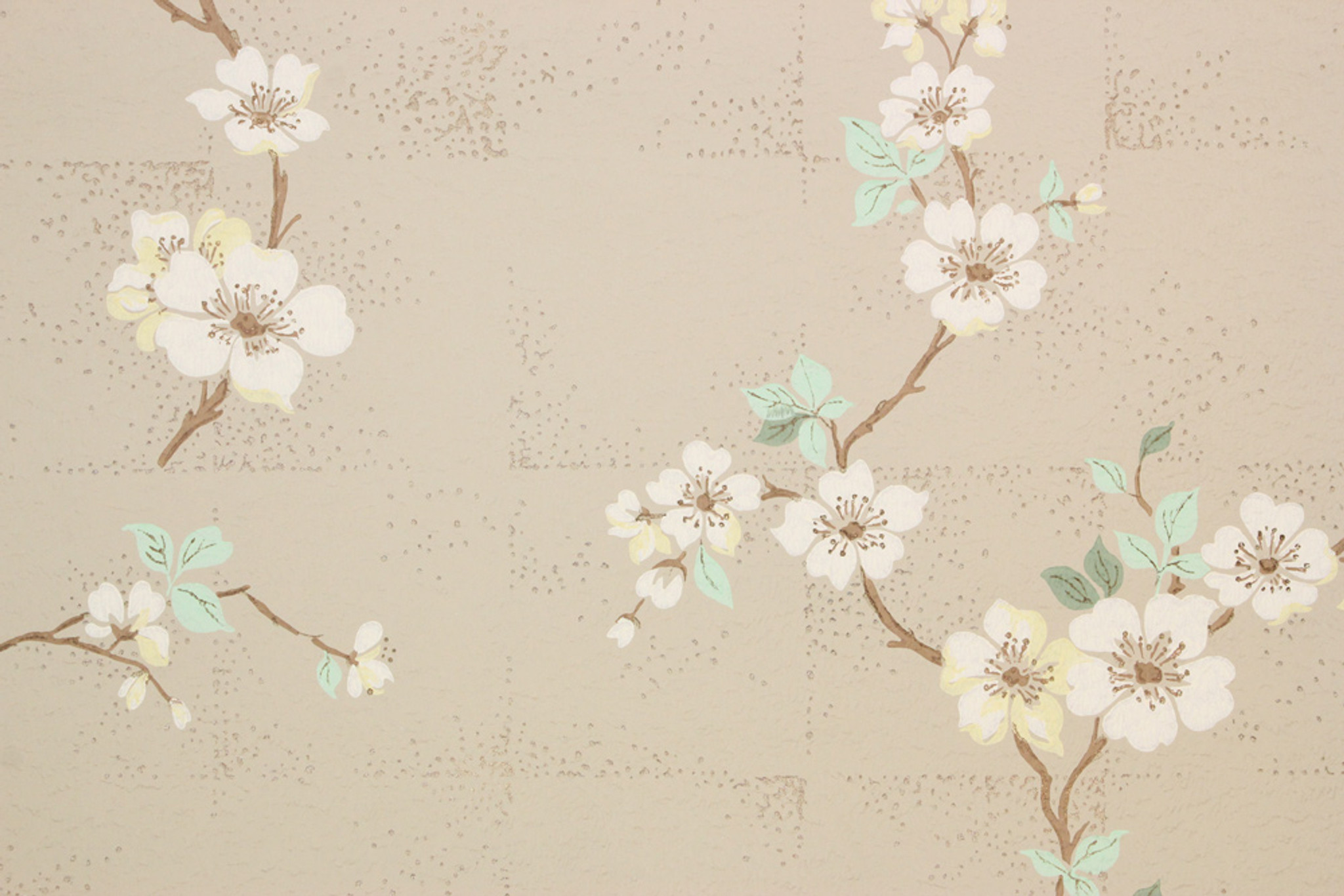 1940s Vintage Wallpaper White Dogwood On Beige Rosie S Vintage