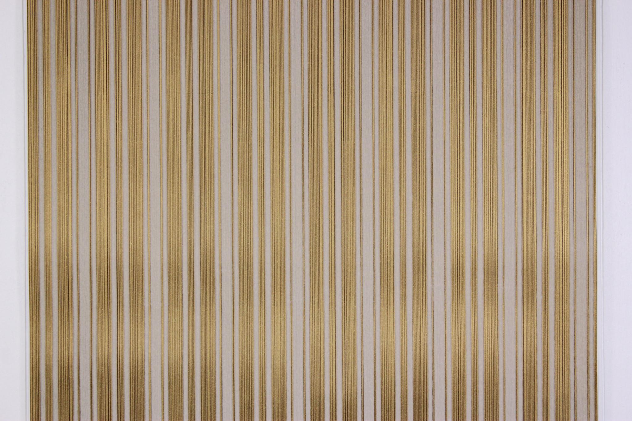 3329c2d44a6 1970s Vintage Wallpaper White Flock Stripe on Gold Black Pinstripe ...