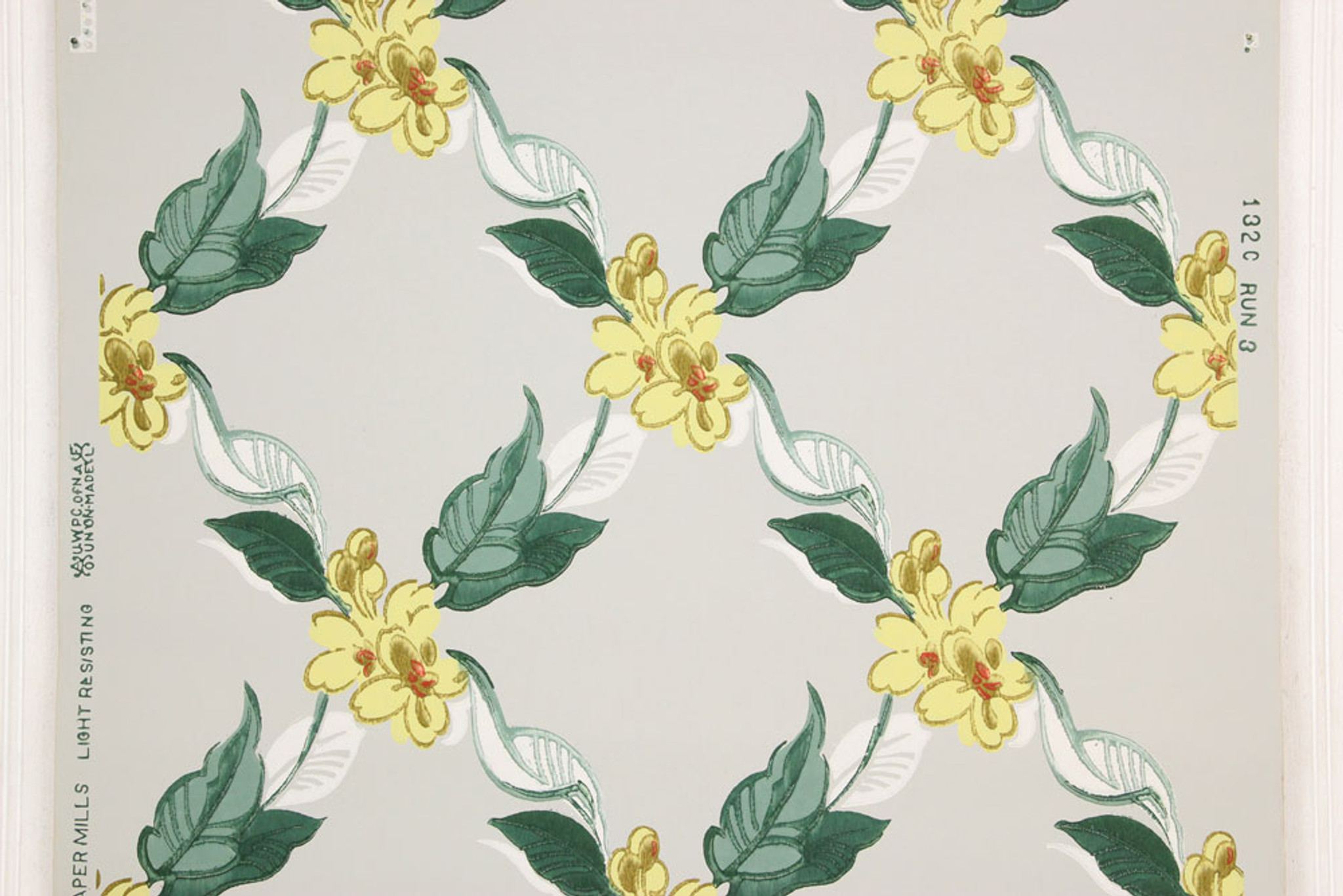 1940s Vintage Wallpaper Yellow Flowers On Gray Rosie S Vintage