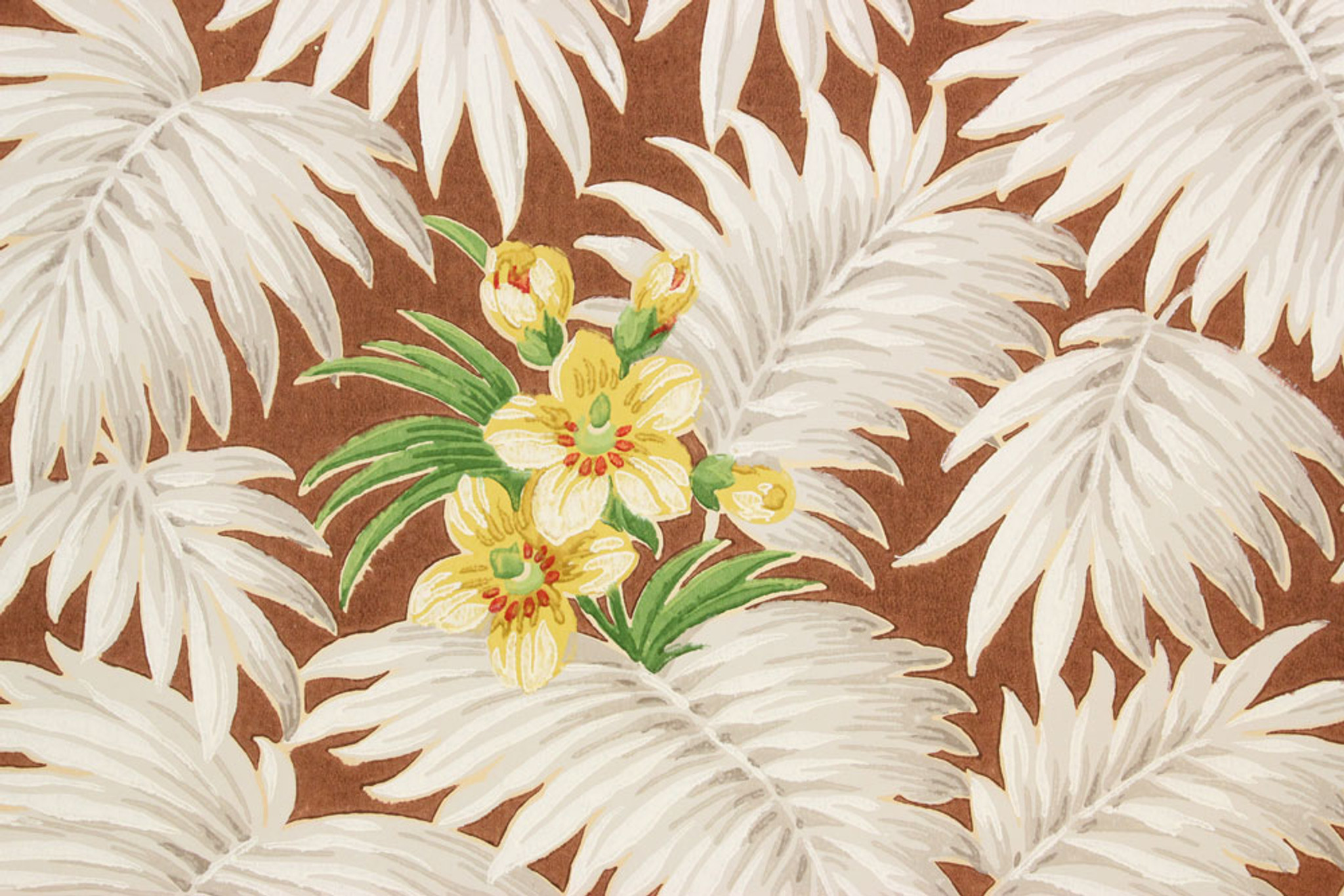 1930s Vintage Wallpaper White Tropical Leaves On Brown Rosie S