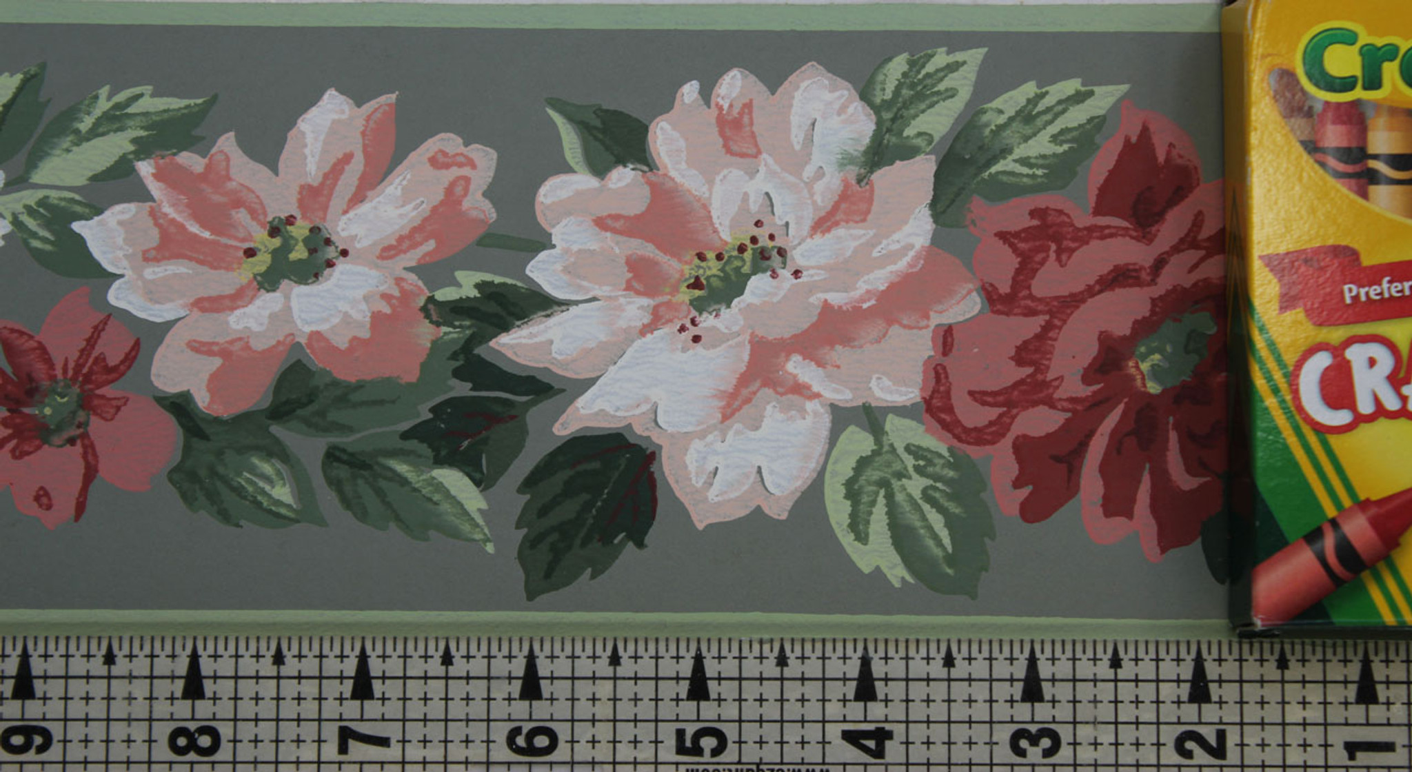 Trimz Vintage Wallpaper Border Floral Decor Green Rosie S